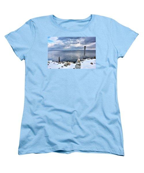 Women's T-Shirt (Standard Cut) featuring the photograph Lake Champlain During Winter by Brendan Reals