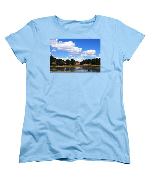 Lake Cuyamac Landscape And Clouds Women's T-Shirt (Standard Cut) by Matt Harang
