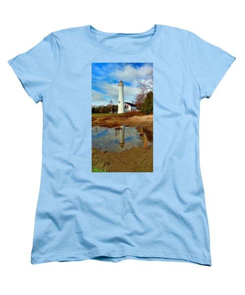Lake Huron Lighthouse Women's T-Shirt (Standard Cut) by Michael Rucker