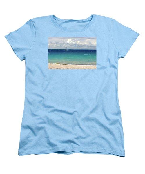 Women's T-Shirt (Standard Cut) featuring the photograph Lake Huron Sailboat by Meta Gatschenberger