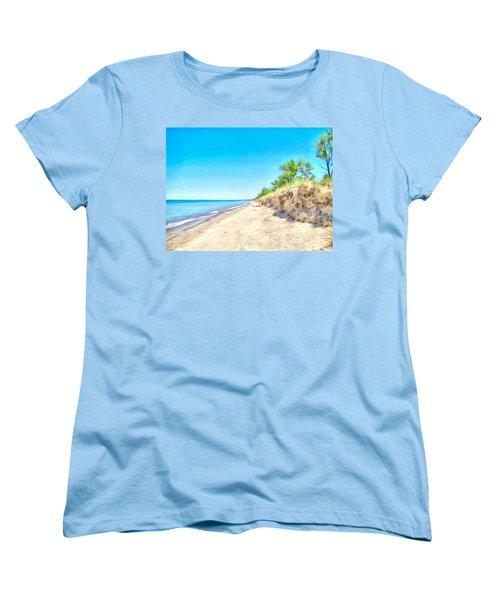 Lake Huron Shoreline Women's T-Shirt (Standard Cut) by Maciek Froncisz
