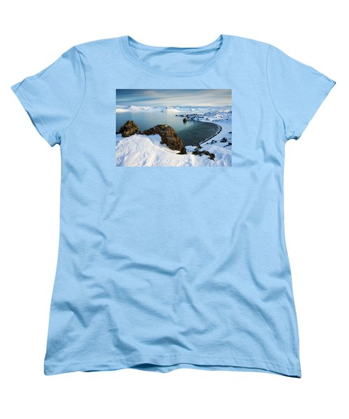 Women's T-Shirt (Standard Cut) featuring the photograph Lake Kleifarvatn Iceland In Winter by Matthias Hauser