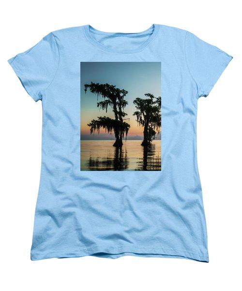 Lake Maurepas Sunrise Triptych No 3 Women's T-Shirt (Standard Cut)
