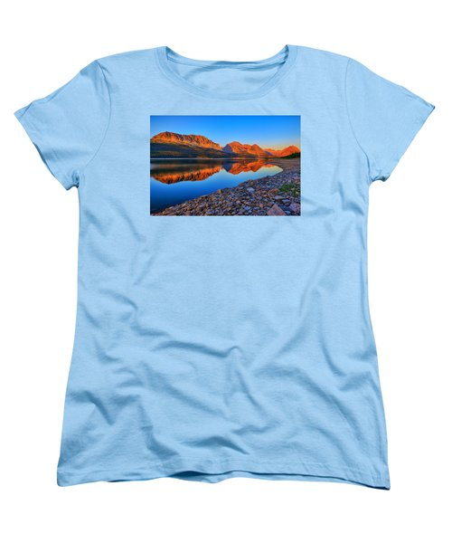 Women's T-Shirt (Standard Cut) featuring the photograph Lake Sherburne Dawn by Greg Norrell