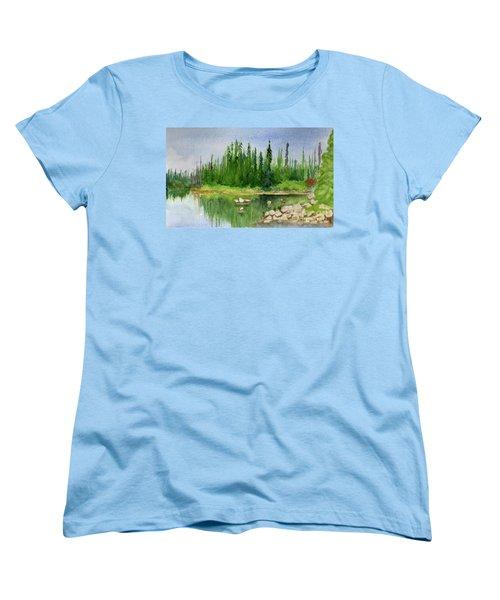 Women's T-Shirt (Standard Cut) featuring the painting Lake View 1-2 by Yoshiko Mishina