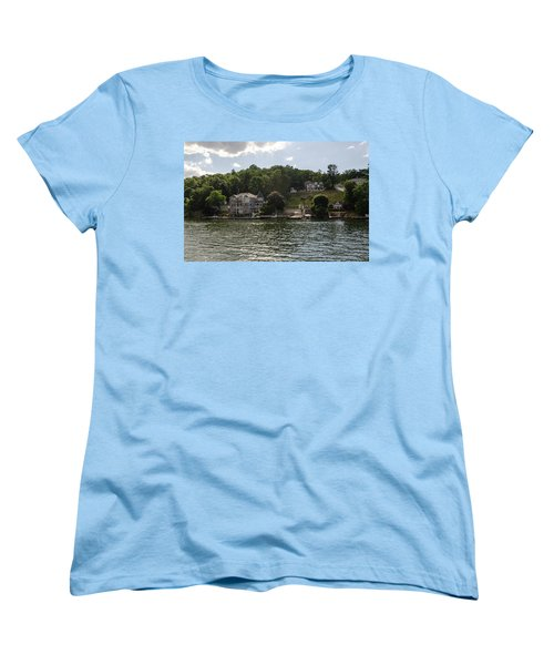 Women's T-Shirt (Standard Cut) featuring the photograph Lakeside Living Hopatcong by Maureen E Ritter