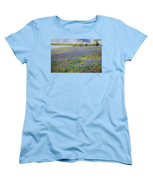 Women's T-Shirt (Standard Cut) featuring the photograph Lakeside Texas Bluebonnets by David and Carol Kelly