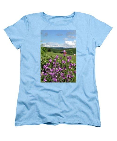 Landscape With Purple Flowers Women's T-Shirt (Standard Cut)