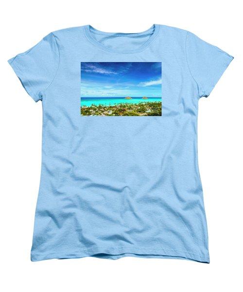Women's T-Shirt (Standard Cut) featuring the photograph Lanikai Beach From The Pillbox Trail by Aloha Art