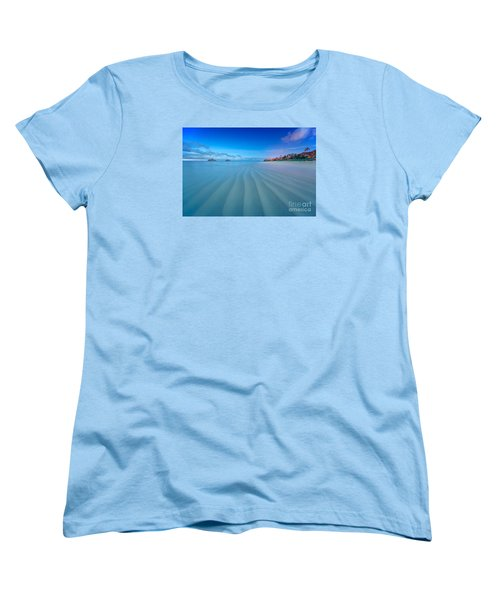 Women's T-Shirt (Standard Cut) featuring the photograph Lanikai Beach Ripples In The Sand Wide by Aloha Art