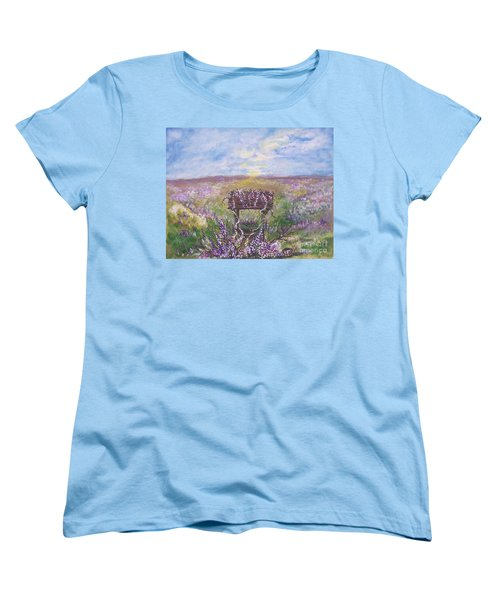 Women's T-Shirt (Standard Cut) featuring the painting Lavendar Wishes by Leslie Allen