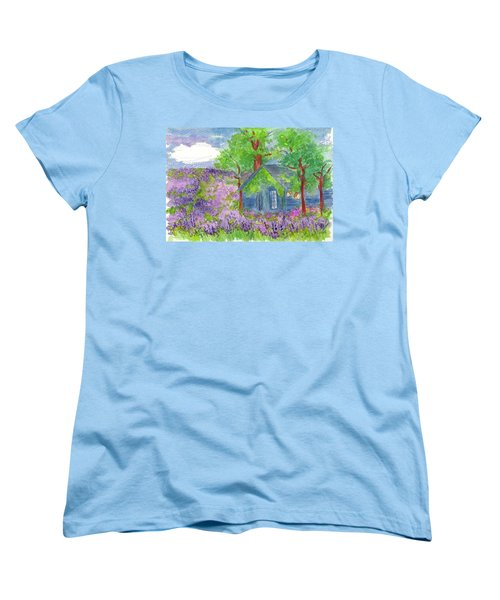 Women's T-Shirt (Standard Cut) featuring the painting Lavender Fields by Cathie Richardson