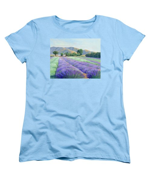 Lavender Lines Women's T-Shirt (Standard Cut) by Sandy Fisher