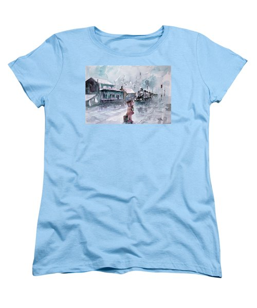 Women's T-Shirt (Standard Cut) featuring the painting Leaving... by Faruk Koksal