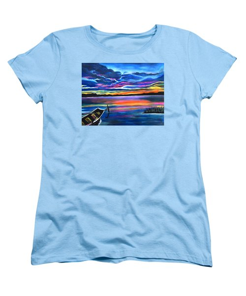 Left Alone A Seascape Boat Painting At Sunset  Women's T-Shirt (Standard Cut)