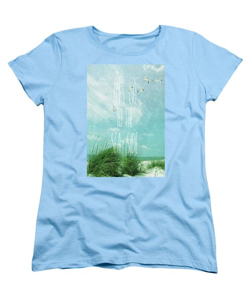 Let's Go To The Sea-side Women's T-Shirt (Standard Cut) by Jan Amiss Photography