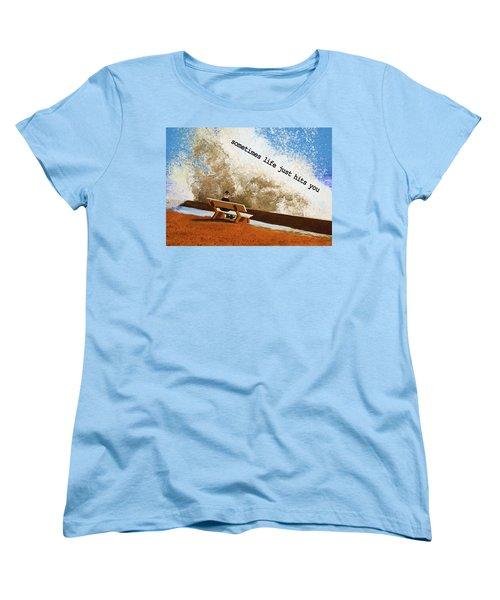Life Hits You Greeting Card Women's T-Shirt (Standard Cut) by Thomas Blood