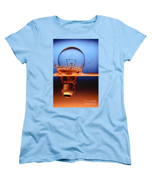 Women's T-Shirt (Standard Cut) featuring the photograph Light Bulb And Splash Water by Setsiri Silapasuwanchai
