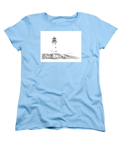 Women's T-Shirt (Standard Cut) featuring the drawing Lighthouse Of Peggy's Cove by Patricia Hiltz