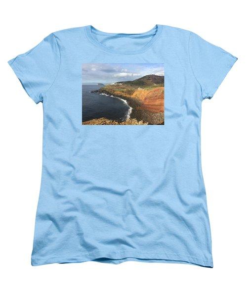 Lighthouse On The Coast Of Terceira Women's T-Shirt (Standard Cut) by Kelly Hazel