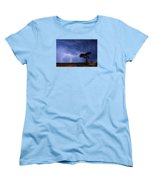 Lightning Storm On A Lonely Country Road Women's T-Shirt (Standard Cut) by Art Whitton