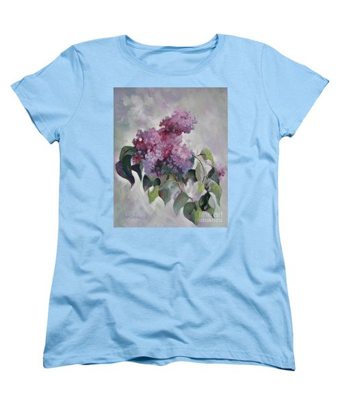 Women's T-Shirt (Standard Cut) featuring the painting Lilac by Elena Oleniuc