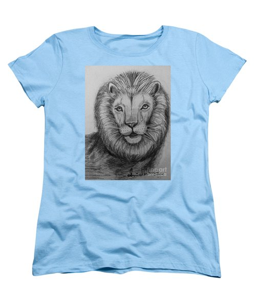 Women's T-Shirt (Standard Cut) featuring the painting Lion by Brindha Naveen