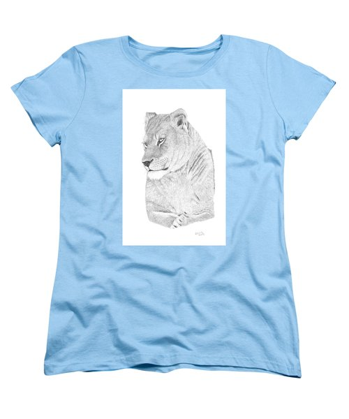 Women's T-Shirt (Standard Cut) featuring the drawing Lioness by Patricia Hiltz