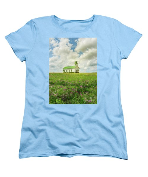 Women's T-Shirt (Standard Cut) featuring the photograph Little Church On Hill Of Wildflowers by Robert Frederick