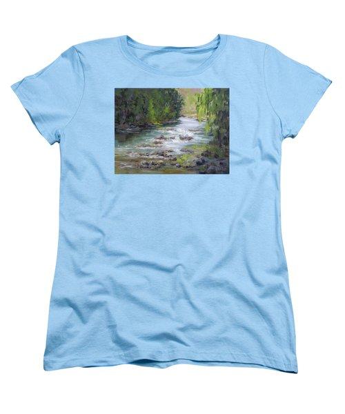 Women's T-Shirt (Standard Cut) featuring the painting Little Creek by Karen Ilari