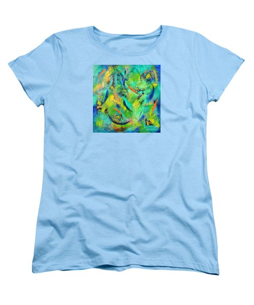 Women's T-Shirt (Standard Cut) featuring the painting Little Fishes by Lyn Olsen