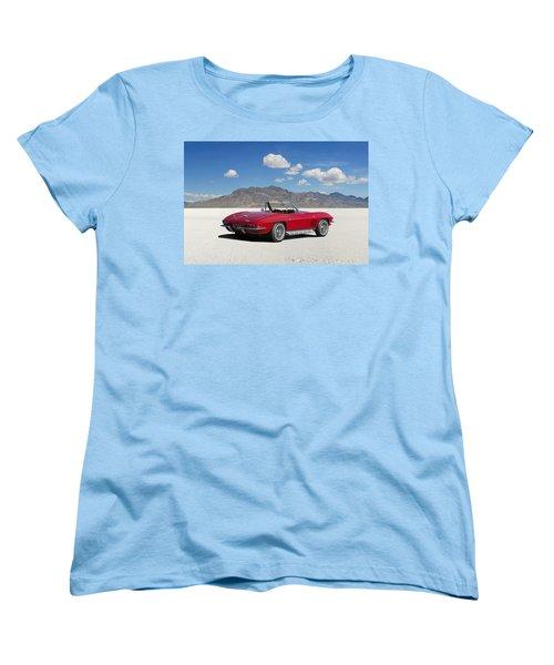 Women's T-Shirt (Standard Cut) featuring the digital art Little Red Corvette by Peter Chilelli