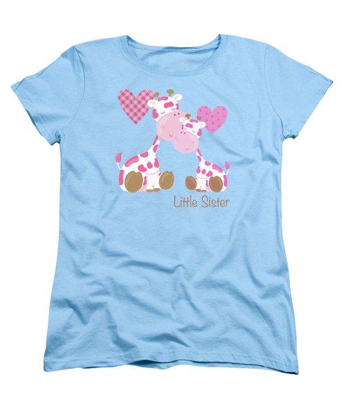 Little Sister Cute Baby Giraffes And Hearts Women's T-Shirt (Standard Cut) by Tina Lavoie