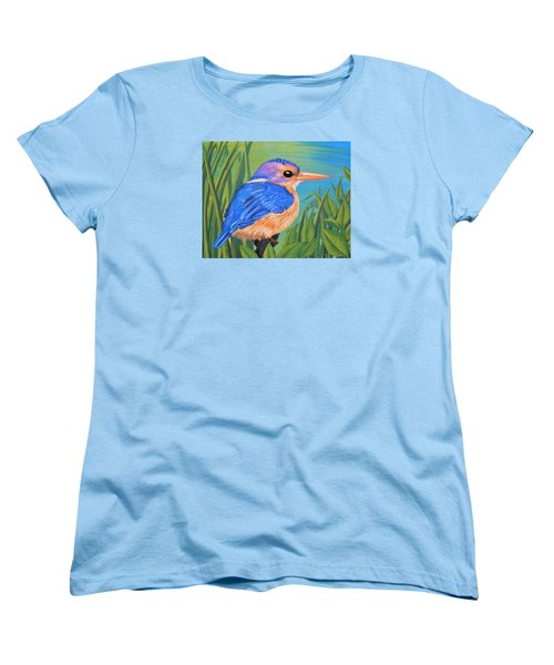 Women's T-Shirt (Standard Cut) featuring the painting Litttle King Of The Fishers by Sophia Schmierer