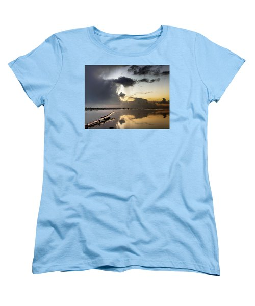 Log Pointing To Sunset Women's T-Shirt (Standard Cut) by Greg Nyquist