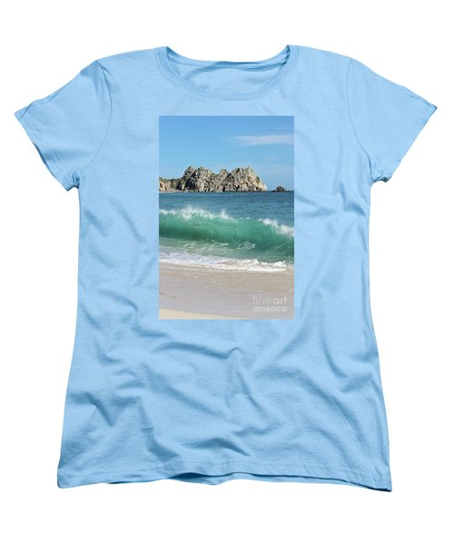Women's T-Shirt (Standard Cut) featuring the photograph Logan Rock Porthcurno Cornwall by Terri Waters