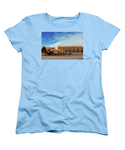 Logs And Plywood At Lumber Mill Women's T-Shirt (Standard Fit)
