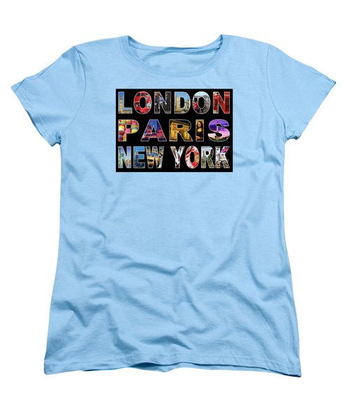 Women's T-Shirt (Standard Cut) featuring the digital art London Paris New York, Black Background by Adam Spencer