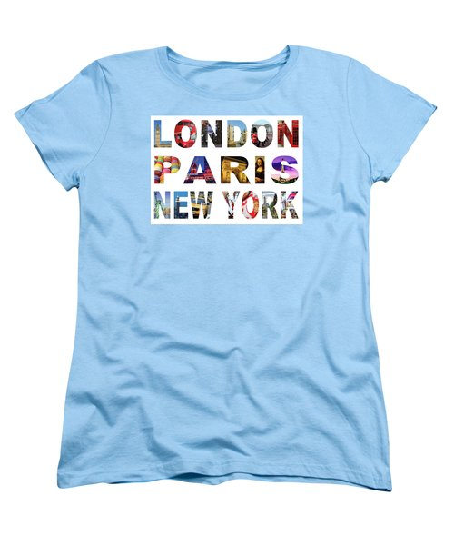 Women's T-Shirt (Standard Cut) featuring the digital art London Paris New York, White Background by Adam Spencer