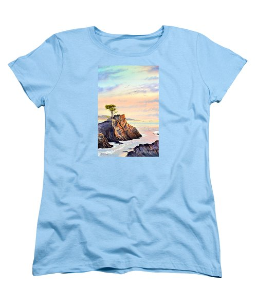 Lone Cypress Tree Pebble Beach Women's T-Shirt (Standard Cut) by Bill Holkham