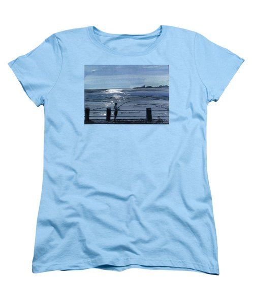 Lone Fisherman On Worthing Pier Women's T-Shirt (Standard Cut) by Carole Robins