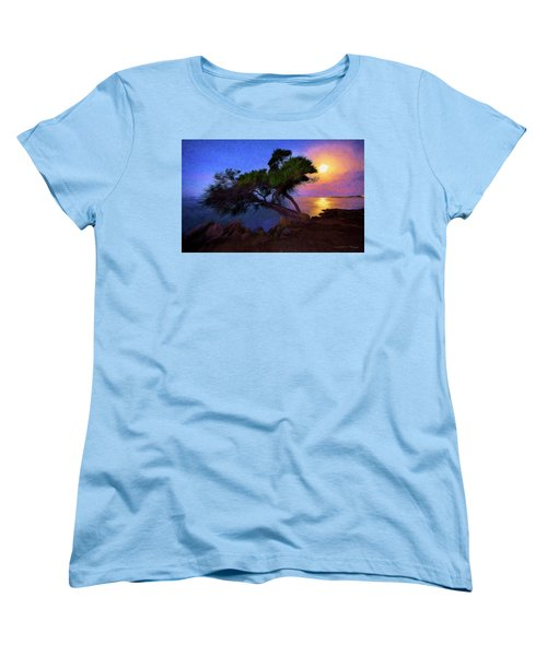 Women's T-Shirt (Standard Cut) featuring the photograph Lone Tree On Pacific Coast Highway At Moonset by John A Rodriguez