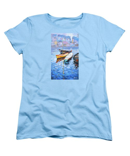 Women's T-Shirt (Standard Cut) featuring the painting Lonely Boats  by Dmitry Spiros