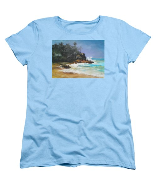 Women's T-Shirt (Standard Cut) featuring the painting Lonely Sea by Rushan Ruzaick