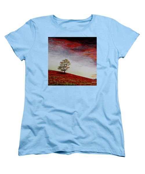 Women's T-Shirt (Standard Cut) featuring the painting Lonely Tree by Judy Kirouac
