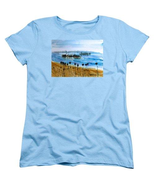 Long Beach Oil Islands Before Sunset Women's T-Shirt (Standard Cut) by Debbie Lewis