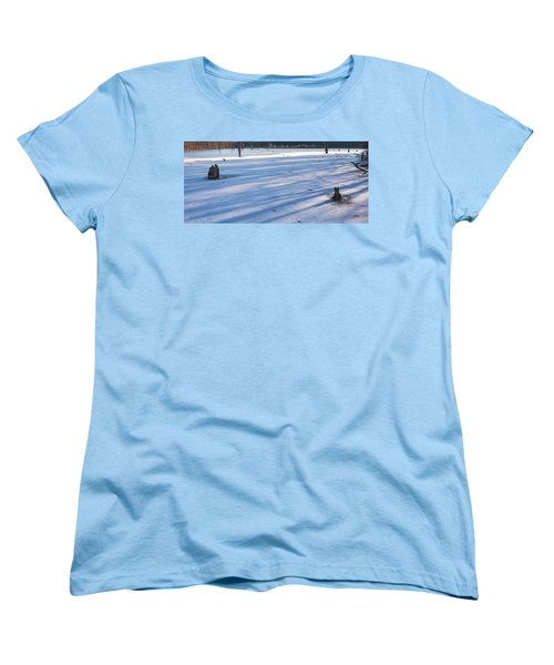 Long Blue Shadows Of Early Morning Women's T-Shirt (Standard Cut) by Angelo Marcialis