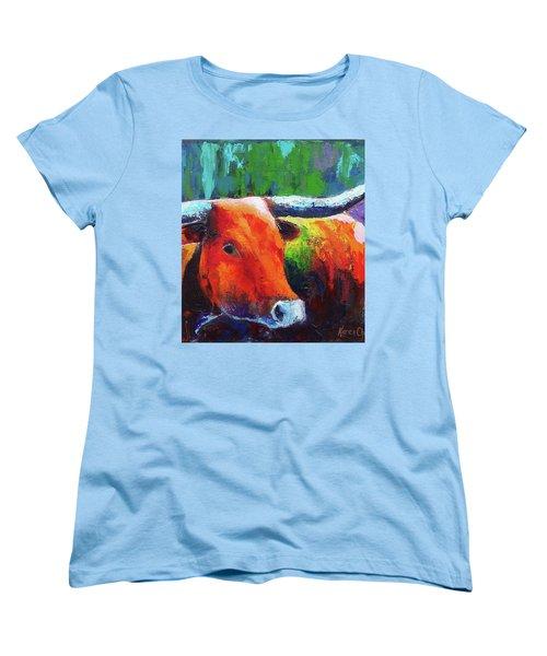 Women's T-Shirt (Standard Cut) featuring the painting Longhorn Jewel by Karen Kennedy Chatham