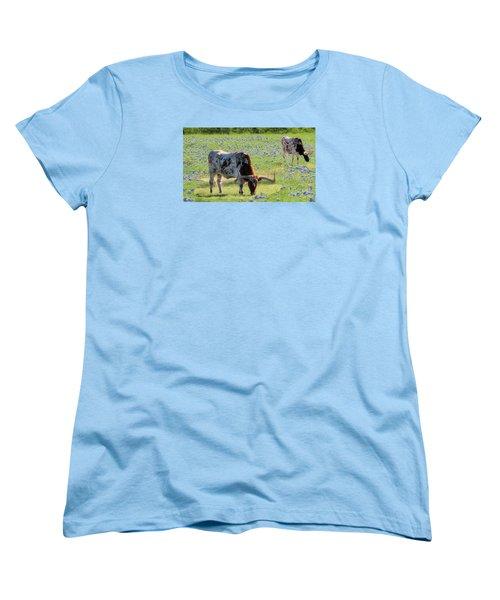 Longhorns In The Bluebonnets Women's T-Shirt (Standard Cut) by Janette Boyd
