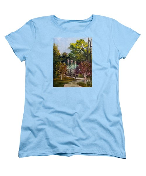 Women's T-Shirt (Standard Cut) featuring the painting Looking Back At The Vietnam Memorial by Jim Phillips